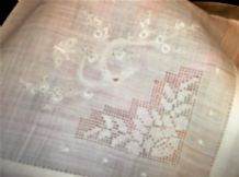 12 X ANTIQUE RAW SILK NAPKINS EMBROIDERED BUTTERFLY ORIENTAL BLOSSOM OPEN LACE